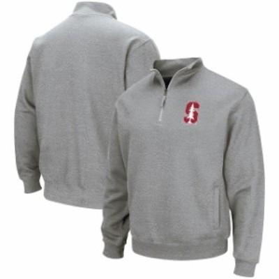 Colosseum コロセウム スポーツ用品  Colosseum Stanford Cardinal Heathered Gray Team Logo Quarter-Zip Pullover Jacket