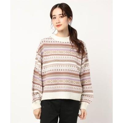 ニット ボリュームスリーブジャガード編み雪柄ノルディック柄ニットセーター