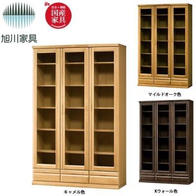 本棚・書棚 (ストリーム) 120書棚(ガラス戸タイプ) 3色対応 TM-SM-120-B