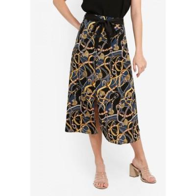 ザローラ ZALORA レディース ひざ丈スカート スリットスカート スカート A-line Skirt with Slit Black/Multi