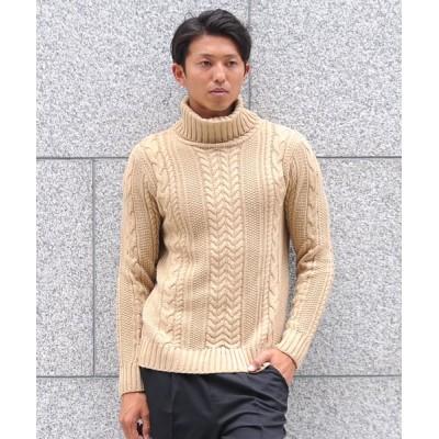 【スペイド】 セーター ニットフィッシャーマンメンズ タートルネック ハイネック ニットソー セーター sweater きれいめ ブラック グレー 白 ホワイト 紺 ネイビー メンズ ベージュ Lサイズ SPADE