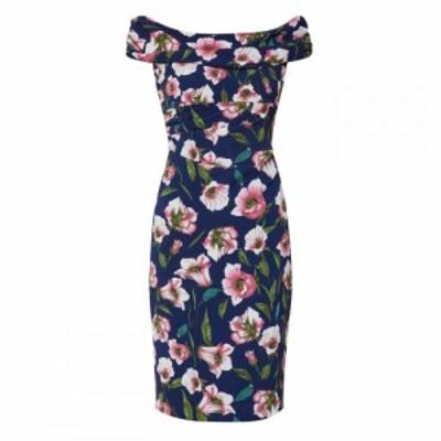 ジーナ バッコーニ Gina Bacconi レディース ワンピース ワンピース・ドレス Unita Georgette Dress Navy & Pink