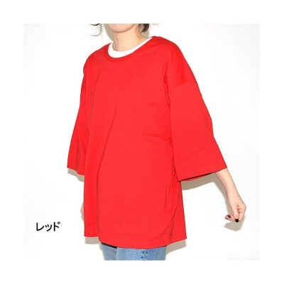 (NEXT WALL/ネクストウォール)「829-11」 レディースBIGTシャツ 7分&5分Tシャツ クルーネックTシャツ/レディース レッド