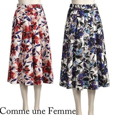 スカート 花柄 夏 ミモレ丈 きれいめ ボルドー パープル Comme une Femme 40代 50代 送料無料