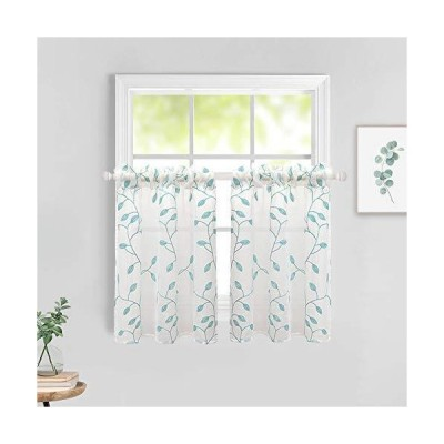 MIULEE Semi Sheer Embroidered Leaf Pattern Tier Window Curtains Linen Texture Voile Panel for Kitchen Cafe Light Filtering W 29x L 36 Inches
