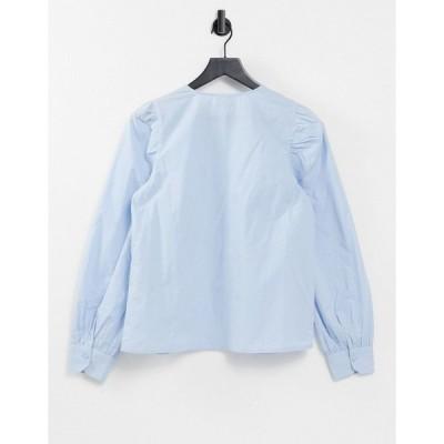 ヴェロモーダ レディース シャツ トップス Vero Moda Aware collarless shirt in blue Blues