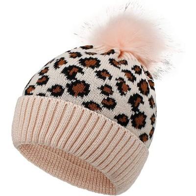 BOBISAMA ニット帽子 ポンポン付き ニットキャップ ヒョウ柄 ファッション ハット かわいい 暖かい 柔らかい 防風 防寒 保温 冬 お出かけ