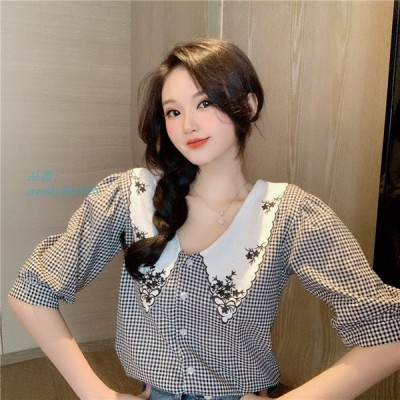 2020 韓流 合わせやすい 格子縞 着痩せ効果 ファッション ユニークデザイン 半袖 シャツ