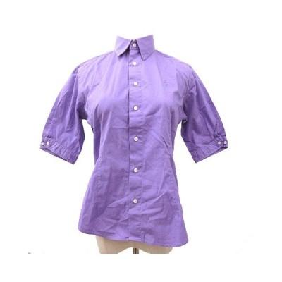 【中古】ラルフローレン RALPH LAUREN SPORT シャツ ブラウス 五分袖 ワンポイント刺繍 コットン 4 紫 パープル 国内正規 R033127 レディース 【ベクトル 古着】