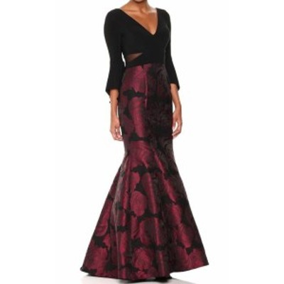 Red  ファッション ドレス Xscape NEW Black Red Rose Floral Brocade Womens 6 Gown Mermaid Dress