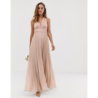 エイソス レディース ワンピース トップス ASOS DESIGN Bridesmaid ruched bodice drape maxi dress with wrap waist Soft blush