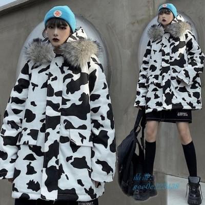 コート レディース ファー付き アニマル柄 防風 防寒 アウター ジャケット おしゃれ ガーリー 大きいサイズ