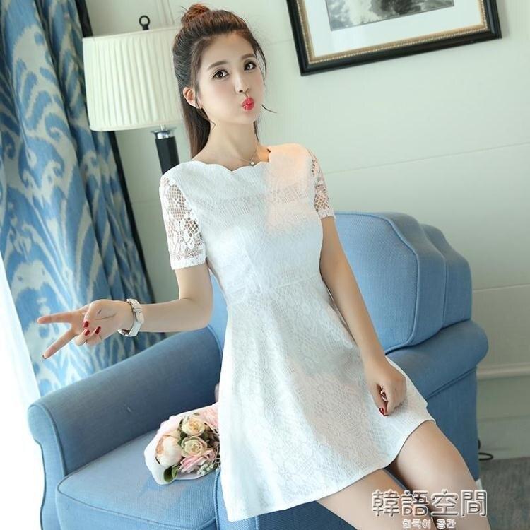 蕾絲洋裝短袖女裝修身顯瘦中長款韓版打底學生 韓語空間  聖誕節禮物