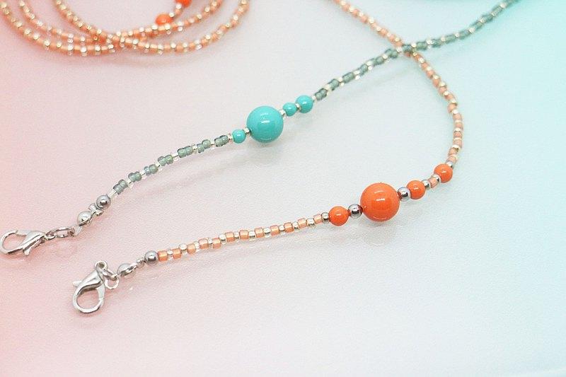 眼鏡鍊、口罩鍊/圓舞曲系列 - 珊瑚橘/藍綠