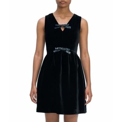 ケイト スペード ワンピース トップス レディース Sequin Bow Velvet Dress Black
