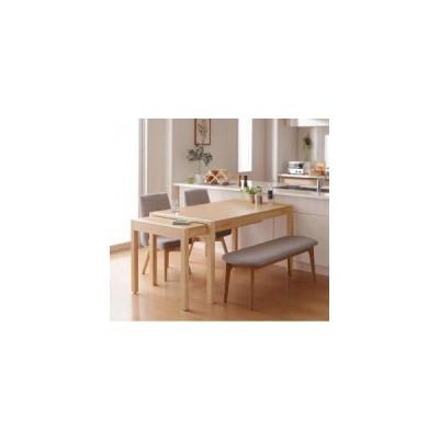 ダイニングテーブルセット 4人用 スライド伸縮テーブルダイニング 4点セット テーブル+チェア2脚+ベンチ1脚 W135-235