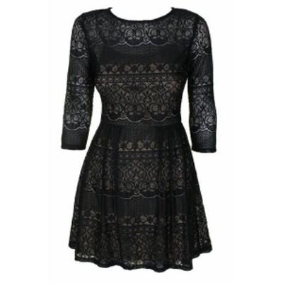 ファッション ドレス B Darlin Blue 3/4-Sleeve Lace Fit & Flare Dress 5-6