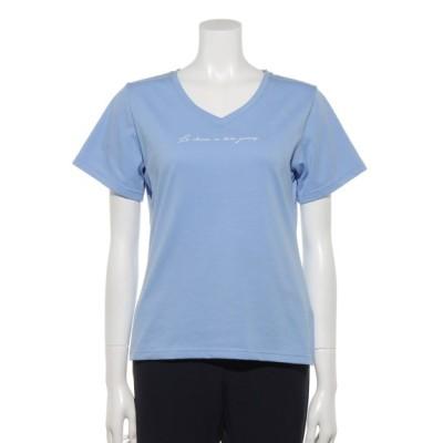 clear (クリア) レディース VネックロゴTシャツ ライトブルー F