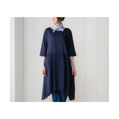 レーヨン麻素材イレギュラーヘムワンピース (ワンピース)Dress