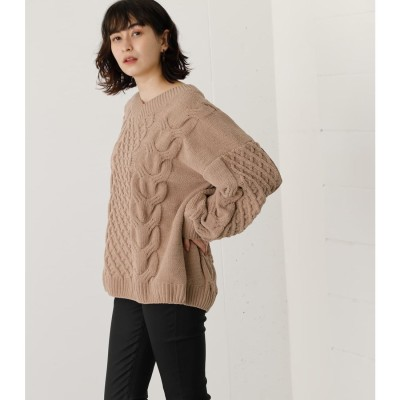CHENILLE CABLE V/N KNIT TOPS BEG