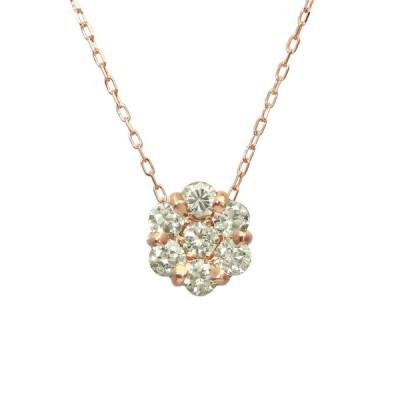 K18ゴールド 天然ダイヤモンド 計0.5ct セブンストーン ネックレス 【K18PG ピンクゴールド】