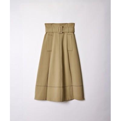 【レディアゼル/REDYAZEL】 ステッチ配色ベルト付きタックフレアースカート
