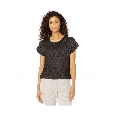 Bobeau レディース 女性用 ファッション Tシャツ Short Sleeve Hacci Scoop Tee - Raven Black Mix