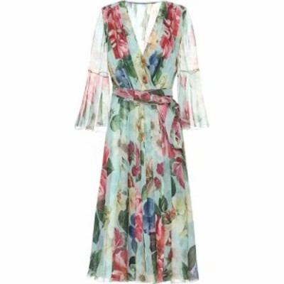 ドルチェandガッバーナ Dolce and Gabbana レディース ワンピース ラップドレス Floral silk-chiffon wrap dress Fiori Ombre F Azzurro