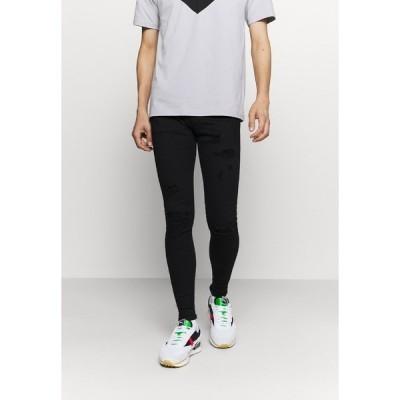 ギャバ デニムパンツ メンズ ボトムス ZIP DESTROY  - Jeans Skinny Fit - blak denim