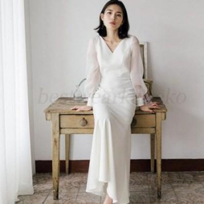 リゾートドレス ウエディングドレス 二次会 花嫁 前撮り パーティードレス ロングドレス 結婚式 大人可愛い エレガント白 エンパイア シ