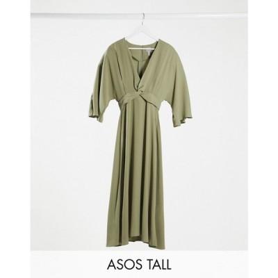 エイソス ASOS Tall レディース ワンピース スケータードレス ミドル丈 Asos Design Tall Batwing Twist Front Midi Skater Dress In Khaki カーキ