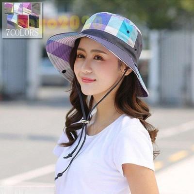 帽子 レディース 帽子 レディース 夏 帽子 UV 帽子 大きいサイズ ハット レディース ハット アウトドア ハット つば広 折りたたみ 20/30/40代 チェック柄