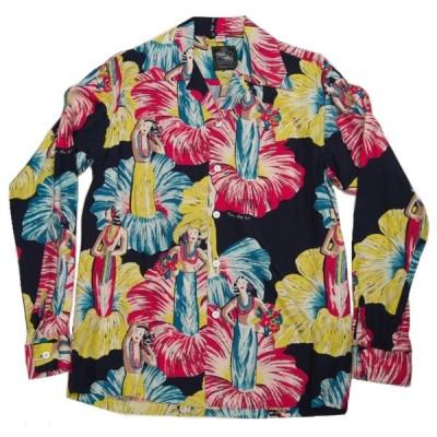 あすつく商品 kona bay hawaii コナベイハワイ  長袖 アロハシャツ フラガール ヴィンテージハワイアンシャツ復刻 貴重ロングスリーブ 日本製生地ハワイ製