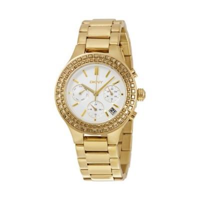 ディーケーエヌワイ Chambers クロノグラフ ホワイト パールized  ゴールドトーン レディース 腕時計 NY2259