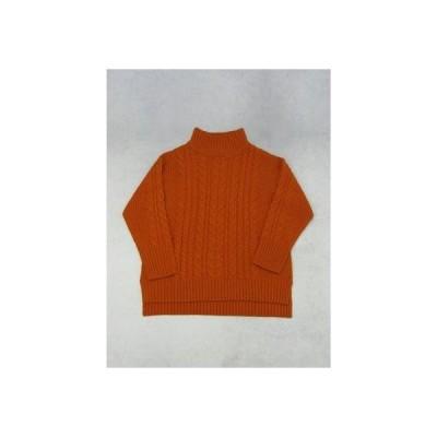 グリーンパークス Green Parks ハイネックケーブルプルオーバー (Orange)