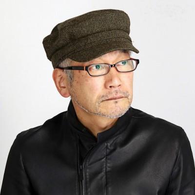 秋冬 マリンキャップ KASZKIET 帽子 メンズ レディース ヘリンボーン シェットランド ラム ウール カシュケット ギフト 緑 オリーブ