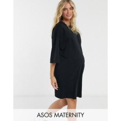 エイソス レディース ワンピース トップス ASOS DESIGN Maternity oversized winter weight T-Shirt Dress with pocket in black BLACK
