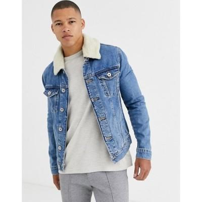 リバーアイランド メンズ ジャケット・ブルゾン アウター River Island fleece lined denim jacket in blue