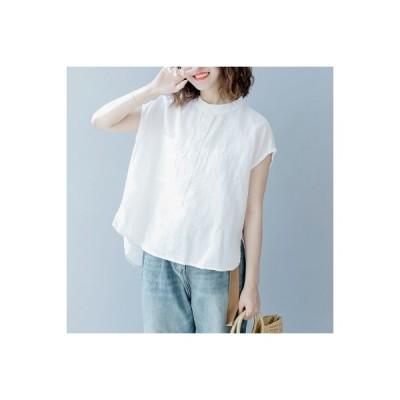 シャツ レディース 綿麻 ブラウス 半袖 プルオーバー フレンチスリーブ ノーカラー シンプル きれいめ 春夏 送料無料