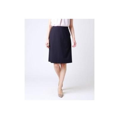 ニューヨーカー NEWYORKER 【ウォッシャブル】ウールストライプ Aラインスカート (ネイビー)