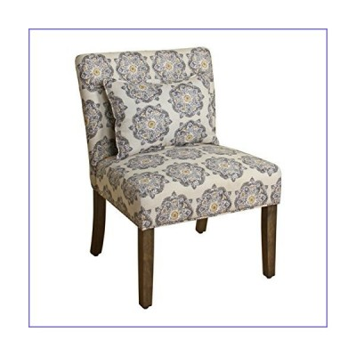 HomePop Parker Accent Chair with Pillow, Gray Medallion 141[並行輸入][並行輸入品]