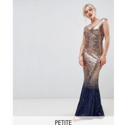 シティゴッデス City Goddess Petite レディース ワンピース ワンピース・ドレス ombre sequin embellished maxi dress