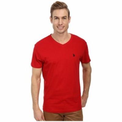 ユーエスポロアッスン U.S. POLO ASSN. メンズ Tシャツ Vネック トップス V-Neck Short Sleeve T-Shirt Engine Red