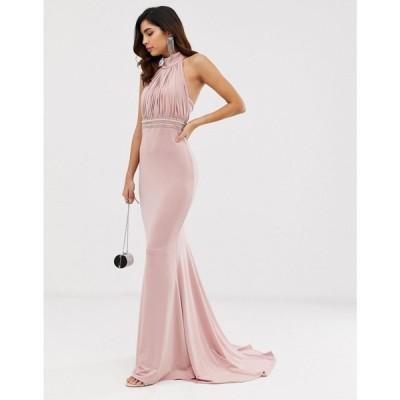 シティゴッデス City Goddess レディース ワンピース ワンピース・ドレス slinky halterneck maxi dress with embellished waistband Blush