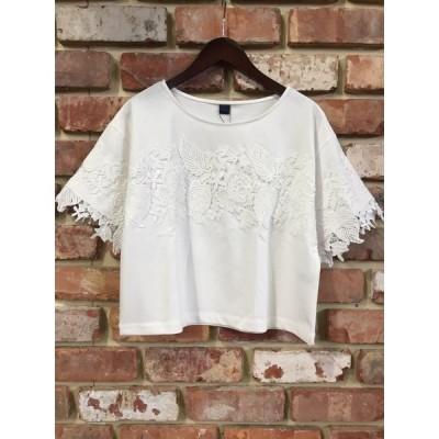 ベアトリス Tシャツ BEATRICE E82246 レースドッキングワイドプルオーバー