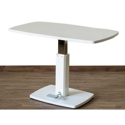[送料無料・カード払・前払限定]昇降式センターテーブル 約W105xD60XH51-71cm ホワイト*食卓用、作業台や応接室、書斎用テーブル、PC台にも