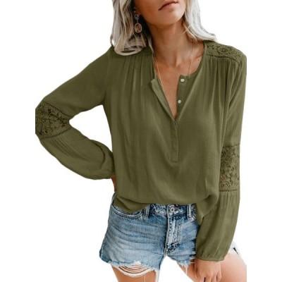 レディース 衣類 トップス Womens Long Sleeve Basic Button Up Chiffon Shirts ブラウス&シャツ