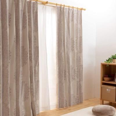 全100種から選べるカーテン カーテン 1級遮光 4枚組(ドレープ2枚・レース2枚) UVカット 洗える ダリア ベージュ 幅100cm×丈