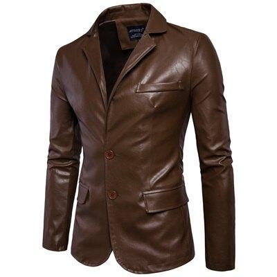 皮衣外套皮西裝-純色休閒翻領修身男外套2色73ua18【獨家進口】【米蘭精品】