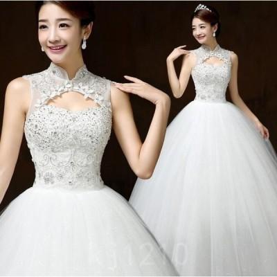ウェデイングドレス結婚式二次会花嫁ドレス袖なしウエディングマキシドレスプリンセスライン結婚式披露宴白ドレス